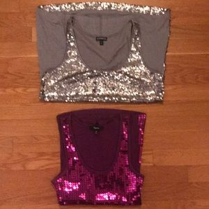 Set of 2 W's Size M Express Sequin Tank Tops